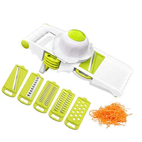 Mandoline Vegetable Slicer Cutter Chopper,Premium adjustable Fruit&Food slicer set with 5 stainless Steel Blades & Hand Protector Cutter for Patato, Onion, Cucumber, Zucchini ,Pasta, Cheese-Green