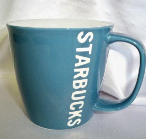 Starbucks Light Blue with White Vertical Block Letter Embossed Logo 2010 14oz
