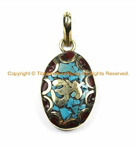 Tibetan Sanskrit OM Mantra Charm Pendant with Brass, Turquoise & Coral Inlays- Nepal Tibetan Pendants- WM6129-1