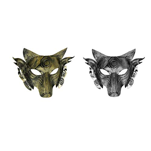 Unisex Adult Vintage Antique Venetian Costume Mask Halloween Cosplay Masquerade Carnival Mardi Gras Party Acccessory (Style 02)