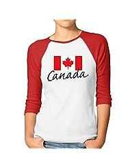 Women's Canada Flag Maple Leaf Flag 3/4 Sleeve Baseball Shirt Black (2 Colors)