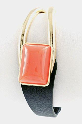 Karmas Canvas Rectangular Stone Half Leather Cut Bracelet - Leather Bracelet Karma