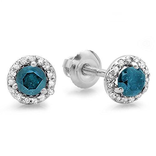 0.50 Carat (ctw) 14K White Gold Round Blue & White Diamond Ladies Halo Style Stud Earrings 1/2 ()