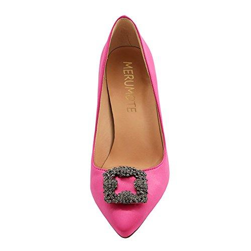 Full Heel Women's Pumps Closed Pink Satin Pointy Sole MERUMOTE Toe Diamonds High HqzwZEExR
