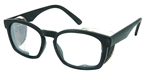 MCR Safety PN1410P Pantera PN4 Glasses with Max3 Anti-Fog Coating, Matte Gray Wood Grain/Clear - Retro Safety Glasses