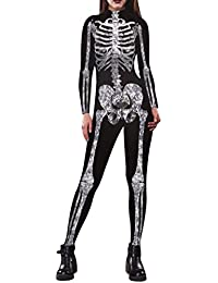 Womens Halloween Skeleton Print Costume Stretch Skinny...