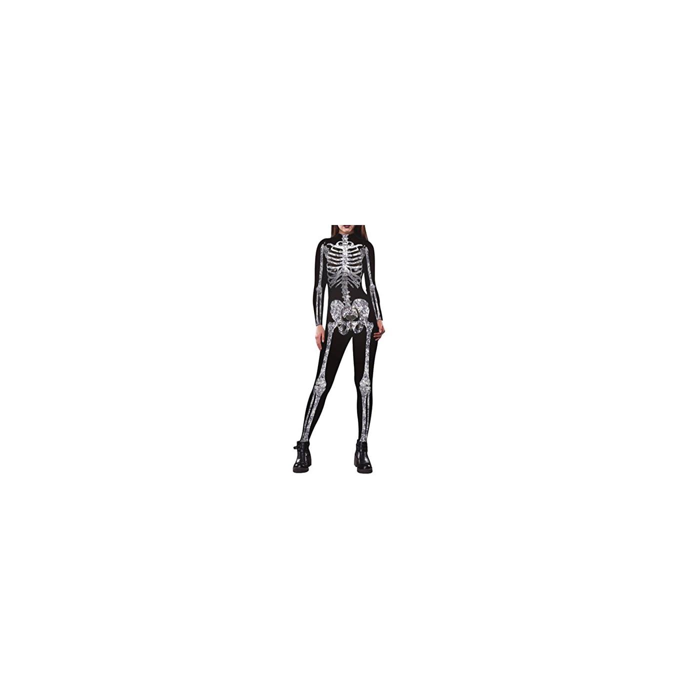 Pink Queen Womens Halloween Cosplay Skull Skeleton Print Costume One-Piece Catsuit Bodysuit 416vlD1zzXL