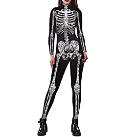 - 416vlD1zzXL - Pink Queen Womens Halloween Cosplay Skull Skeleton Print Costume One-Piece Catsuit Bodysuit