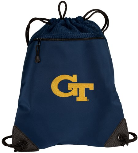 Broad Bay GT Yellow Jackets Drawstring Backpack Georgia Tech Cinch Bag - UNIQUE MESH & MICROFIBER (Yellow Jackets Beach Towel)