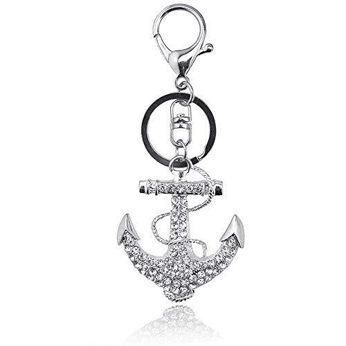 - JewelBeauty Anchor Keychain Sparkling Keyring Crystal Rhinestones Purse Pendant Handbag Charm (Silver)