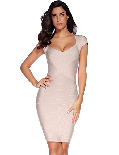 meilun Women's Bandage Dress Square Neck Bodycon Party Dress (XL, - In Shops One Dress Square