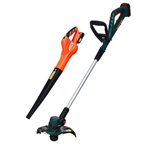 GYMAX Cordless String Trimmer Leaf Blower Combo Kit, 20V Efficient Cordless with Adjustable Handle, Head Telescopic Pole, Plus Electric Rechargeable Sweeper, Lightweight Portable Tool Set for Yard