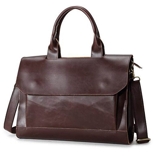 Leather Retro Laptop Pu Bag Satchel Briefcase Shoulder Business Messenger Black Waterproof Handbag Men EqFWgOdF