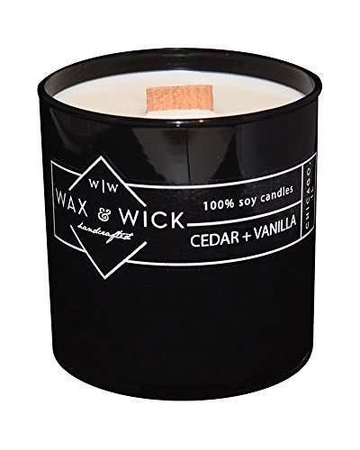 Scented Soy Candle: 100% Pure Soy Wax with Wood Double Wick | Burns Cleanly up to 60 Hrs | Cedar + Vanilla Scent with Notes of Cedarwood and Vanilla. | 12 oz. Black Jar by Wax and Wick (Gal Cedar Oil)