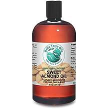 Sweet Almond Oil 16 oz 100% Pure Cold-pressed Unrefined Organic - Bella Terra Oils