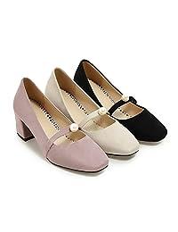 Hexiajia Woman Shoes Low heel Pumps Black Beige Purple