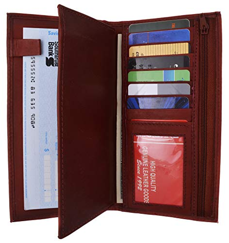 Genuine Leather Checkbook Cover Wallet Organizer with Credit Card Holder (Burgundy)