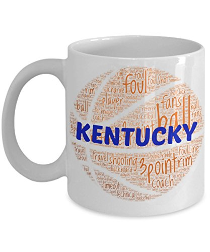 KENTUCKY WILCATS Basketball mug – coffee tea cup for college sports fan – ceramic team gift -- NCAA college basketball -- 11 ounce or 15 ounce white