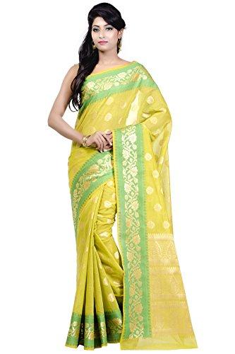 Chandrakala Women's Green Cotton Silk Blend Banarasi Saree,Free Size(1172GRE)