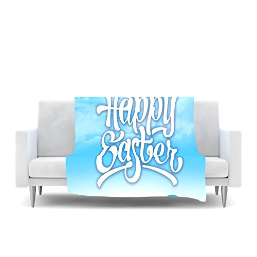 Kess InHouse Original Happy Easter II Springtime Fleece Throw Blanket 80 by 60