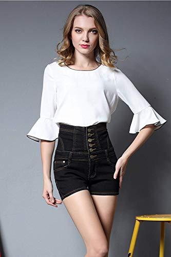 Schwarz Pantalón Moda Jean Corto Elegante Stretch Verano De Mezclilla Mujeres Pantalones Cortos Los U4faqwUHxn