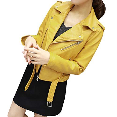 Faux Leather Bomber Jacket Women Ladies The Belt Fashion Racing Style Biker Parkas ANJUNIE(Yellow,M)