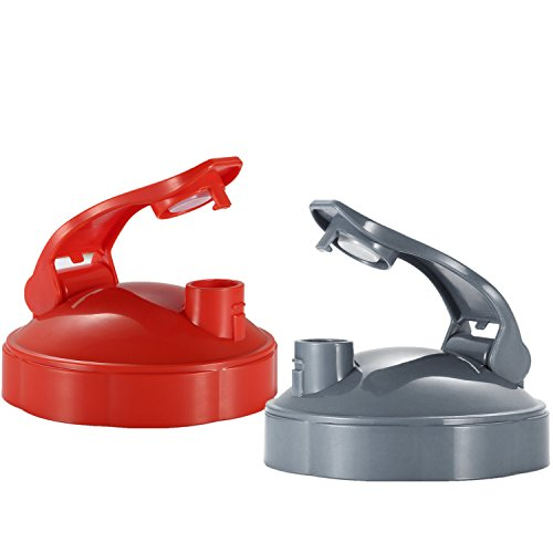 2 Pack Flip Top To Go Lid for Nutribullet (Red & Grey) by SUP-Supply Chain