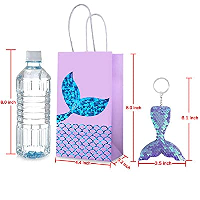 Duufin 26 Pieces Mermaid Party Favors Set Including 13 Packs Mermaid Party Bags Paper Bags and 13 Pcs Mermaid Tail Keychains Flip Sequin Keychains for Mermaid Themed Party: Toys & Games