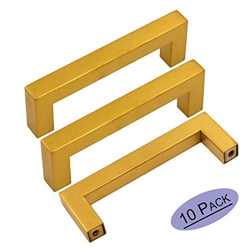 goldenwarm 5 Inch Gold Drawer Pulls Brushed Brass Handles - LSJ12GD128 Kitchen Cabinet Handles Square Bar Pulls Cupboard Bathroom Door Knobs Gold Dresser Hardware for Drawers 10 Pack