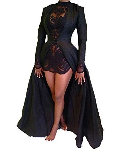 XXXITICAT Women's Sexy 2Pcs Gothic Lace Sheer Jacket Long Dress Gown Party Halloween Costume Outfit(BL,XL)
