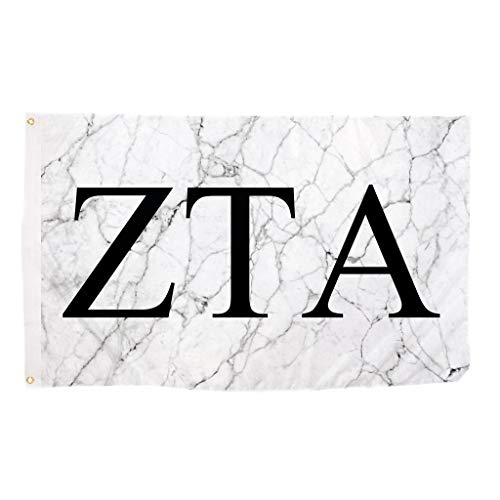 Zeta Tau Alpha ZTA Light Marble Sorority Letter Flag Banner 3 x 5 Sign Decor