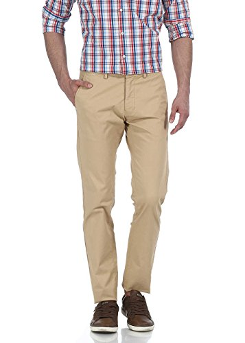 Basics Men's Casual Trousers (8907054804924_15BTR33068_30W x 33L_Khaki)