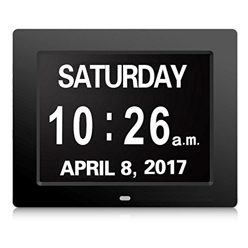 Digital Calendar Day Clock, AKImart 8 inch with Extra Large Clear Day Month for Memory Loss Dementia, Impaired Vision and Seniors Black