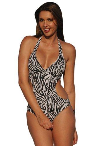 Ujena Zebra - UjENA Zebra Cut-Out Monokini 1-PC Swimsuit Swimset Beachwear