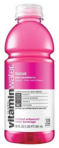 Glaceau VitaminWater Nutrient Enhanced Water Beverage, Focus (Kiwi-Strawberry), Vitamin A + Lutein, 20 oz (Pack of 24) by Unknown