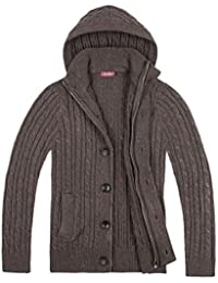 Mens Hooded Sweater Jacket Stand Collar Cable Knitted Zip Up Button Down Cardigan