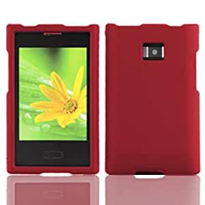 LG Optimus Zone / 38C / L38C Slim Rubberized Protective Snap-On Hard Cover Case - Red