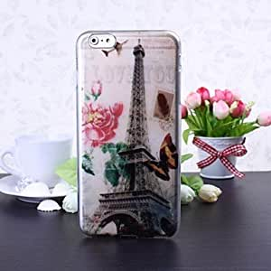 QJM Eiffel Tower and Flowers Pattern TPU Soft Case for iPhone 6 Plus