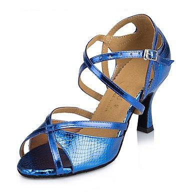 XIAMUO Nicht anpassbar - Die Frauen tanzen Schuhe Leder Leder Latin/Moderne Turnschuhe Ferse Praxis, Navy, US5/EU 35/UK3/CN34