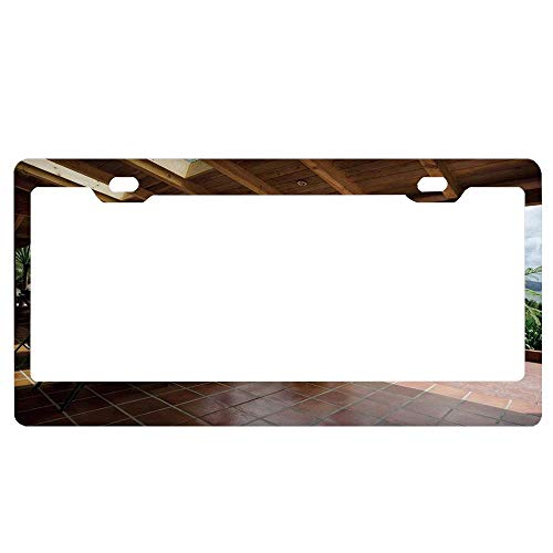 Patio Sub Tropical Wooden Terrace Near License Plate Frame for Women/Men,Car Floral License Plate Frame,Custom Personalized License Plate Frame 2 Holes
