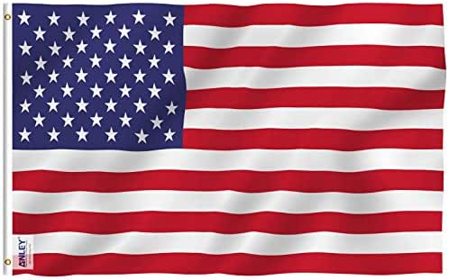 Anley Fly Breeze 3x5 Foot American US Polyester Flag - Vivid Color and UV Fade Resistant - Canvas Header and Double Stitched - USA Flags with Brass Grommets 3 X 5 Feet