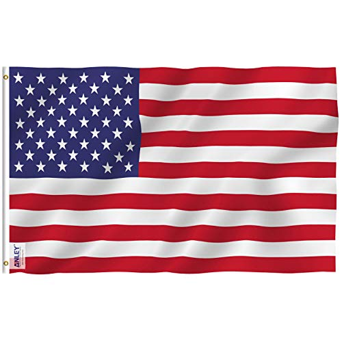 Anley Fly Breeze 3x5 Foot American US Polyester Flag - Vivid Color and UV Fade Resistant - Canvas Header and Double Stitched - USA Flags with Brass Grommets 3 X 5 Feet - Free Banner Maker