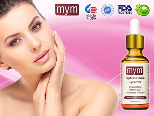 The Best Eye Serum 100% Natural Anti-aging for Wrinkles, Dark Circles, Puffiness, Eye Bags and Crow's Feet with Oligopeptides, Matrixyl 3000 Peptides + Micronized Collagen. Made in USA by MyM (Image #1)