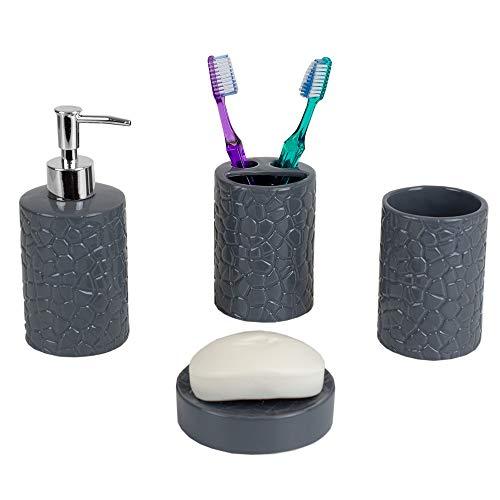 Home Basics 4 Piece Ceramic Crocodile Bath Bathroom Accessory Set (Grey)