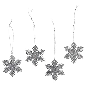 2-inch Silver Glitter Snowflake Ornaments 12-Piece Set - Add bling to the top of gifts, add to tablescape evergreen garland, hang from chandeliers, wrap banister or string across the mantle