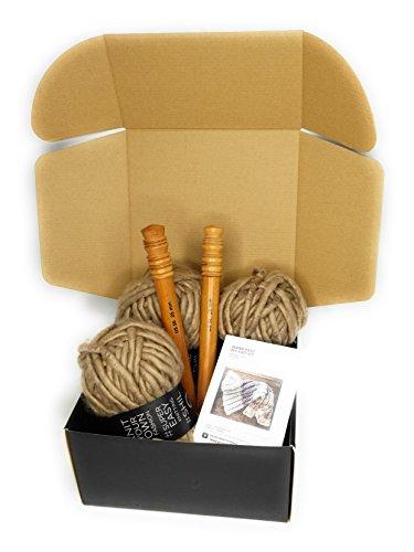 Taupe Large Wood Knitting Needles US 50 Chunky Knit Blanket DIY Kit Super Soft Thick Yarn