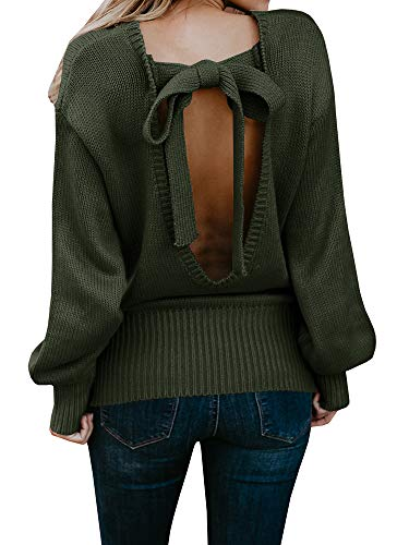 Geckatte Womens Sexy Backless Long Sleeve Loose Knitted Sweater Pullover Jumper (Large, Army Green)