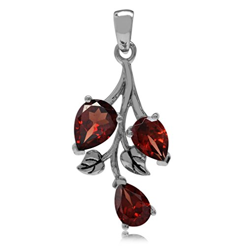 (2.85ct. Natural Garnet 925 Sterling Silver Leaf Pendant)