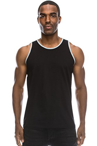 Hipster Hip Hop Basic Ringer Solid Black Big Size Tank Top 3XL