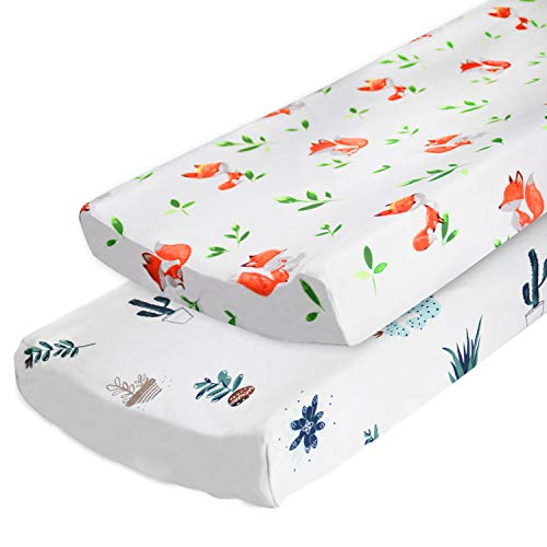 2-Pack Changing Pad Cover Set, 100% Cotton Breathable Changing Table Covers Cradle Sheets for Baby Boys Girls, Fitted Standard or Contoured Changing Pads